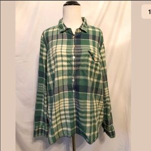J. Crew Plaid Popover Shirt in Green Large